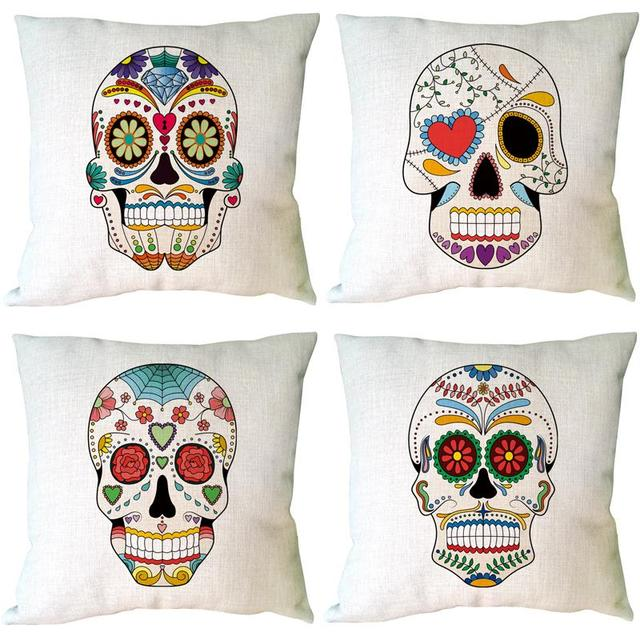 A variety of skull head printed customized halloween decorative cushion cover linen cotton throw pillowcase for home and sofa