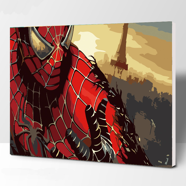 Frameless Picture spider-man DIY Painting By Numbers Modern Wall Art Handpainted Oil Painting On Canvas For Home Decor