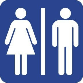WC/Toilet/bathroom/lavatory sign/mark,4x4 inch,Self adhesive label sticker,product code PL19, free shipping