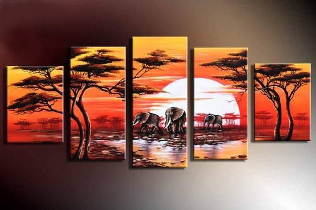 hand-painted art African tree animals elephants home decoration abstract  Landscape oil painting on canvas 5pcs/set framed