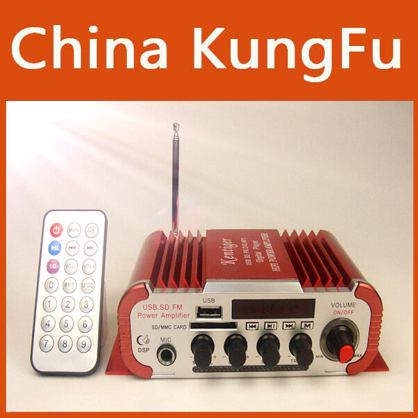 Red Mini Power Hifi Audio Stereo Amplifier AMP For Home Boat Car MiC MP3 FM USB Auto Audio Accessories Free Shipping