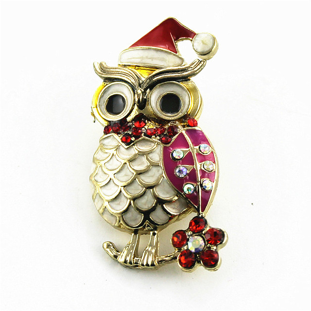 Free shipping Fashion new pearl fox owl zinc alloy gold lady brooch fashion accessories christmas gifts minimum wholesale
