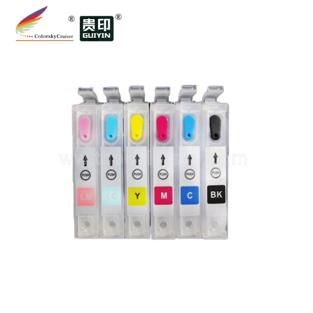 (RCE-IC6CL32) refillable refill ink cartridge for Epson IC6CL32 ICBK32 PM-D800 PM-G700 PM-G720 PM-G730 PM-G800 PM-G820 free dhl