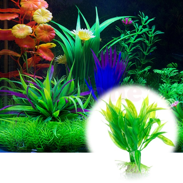 Water plants For Fish Tank Aquarium Decor Green Artificial Plastic Water Grass Plant Ornament Hiding Place For Fish-m35