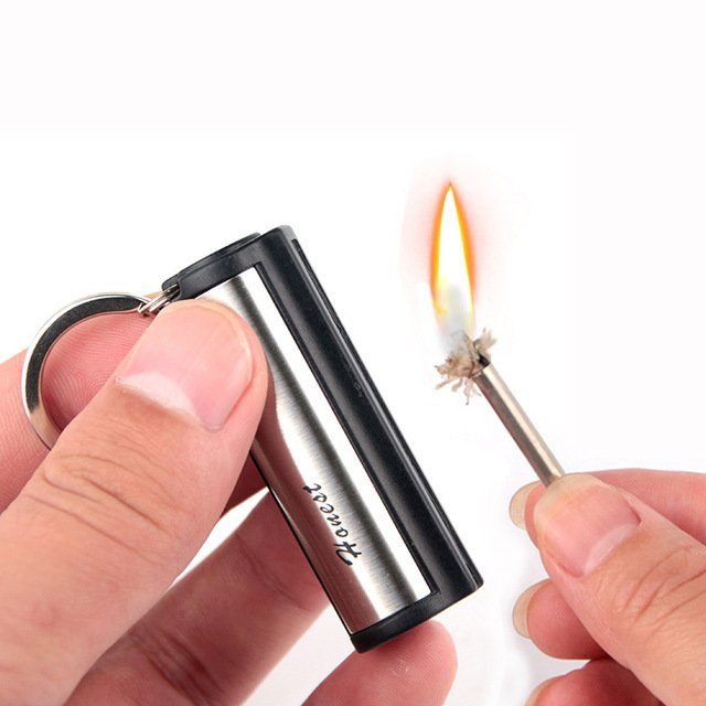 Outdoor Mini Waterproof Key Ring Matches Reusable Cylindrical Cigarette Keyring Match Ligters Smoking Accessories