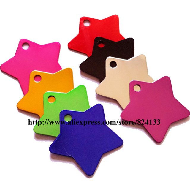 200pcs/lot factory price high quality star shaped pet tags cat tags dog id tags aluminum,free shipping