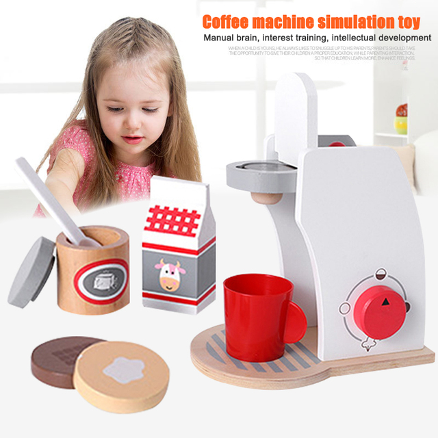 8Pcs Kids Wooden Coffee Machine Toys Household Appliances Play Sets Pretend Play Kitchen Toaster Blender Child Educational Toys