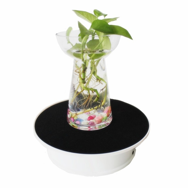 20cm 360 Degree Electric Rotating Display Stand Turntable Table with LED Light display Jewelry Phone Watch Battery Max Load 1k