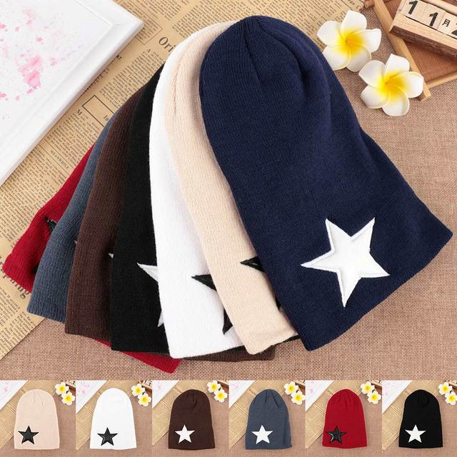 1 pcs Hot sale Trendy Women Men Pentacle Star Warm Skull Beanie Hip-Hop Knit Cap Crochet Cuff Hat Popular Hat Knitted Hat