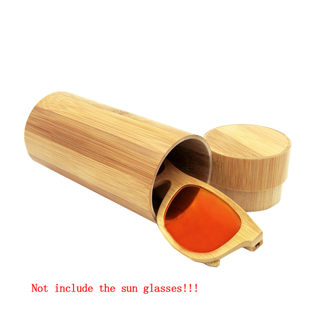 Men Women 1pcs Fashion Original Round Bamboo Sunglasses case Wood Sun glasses box spectacle eyeglasses case