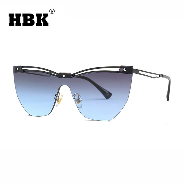 HBK Unique Ladies Semi-Rimless Hollow Gradient Lens Sunglasses New Luxury Brand Designer Metal Frame Sun Glasses Men Women UV400