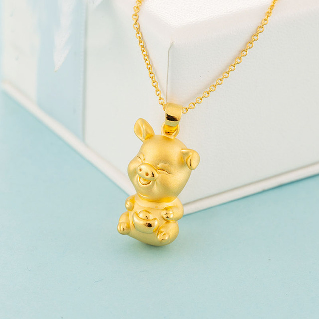 New Arrival  Pure 24K Yellow Gold Pendant Women 3D 999 Gold YuanBao Pig Pendant 3.03g