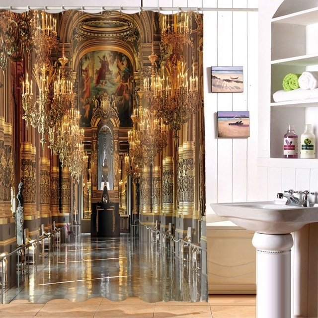 Luxury palace printing shower curtain waterproof shower curtain 3D