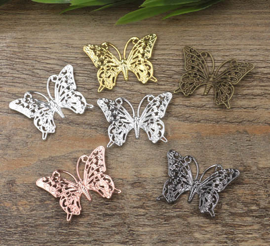 25x40mm Vintage Filigree Butterfly Wraps Links European Charms Hair Clasp Bu Yao Accessories DIY Findings Multi-Color Plated
