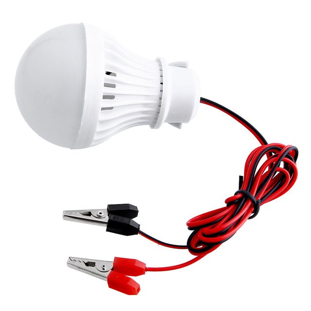 Portable Outdoor 12V 5W LED Bulbs Camping Hunting Emergency W/Clip White Light