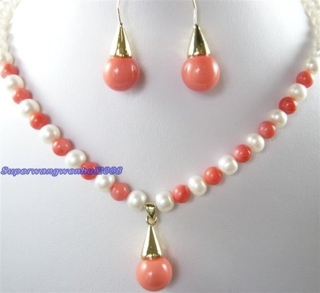 Fashion white pearl red coral necklace earring set Wonderful Nobility Fine Wedding Jewelry Lucky Women's