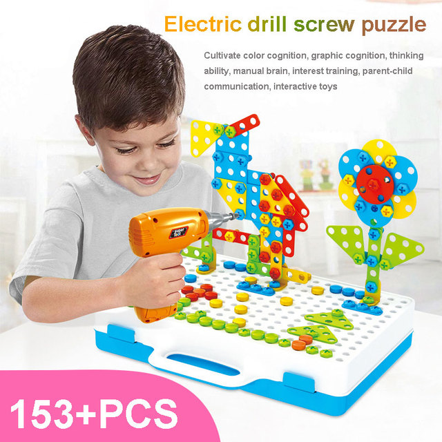 Block Brick Toy Security Blocks game Electric Drill Gift 150+Pcs/Set Plastic Jigsaw Junior  Assembled