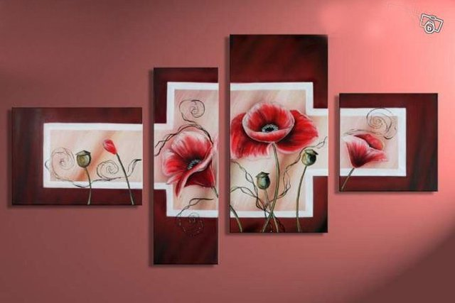 hand-painted  wall pictures  Autumn red lotus home decoration abstract oil painting on canvas 4pcs/set ready to hang framed