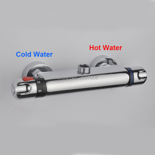Free Shipping Reverse Hot & Cold Wall Mount Bathroom Brass Thermostatic Temperature Control Shower Valve Faucet Mixer Tap GI903