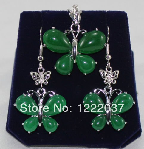 Pretty Natural green jade silver butterfly pendant Necklace earrings set