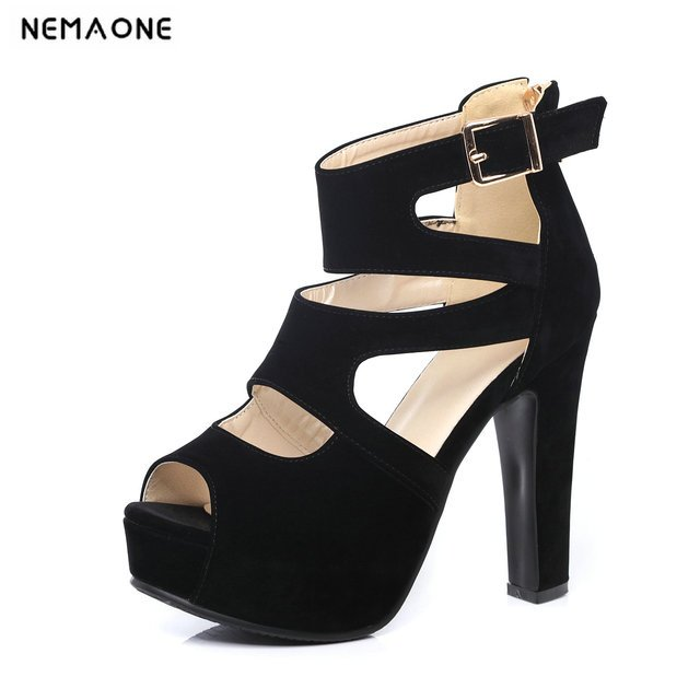2019 New Fashion Buckle Square Heels Women Sandals Summer Women Shoes Open Toe High Heels Party Professional Sexy Dress Sandals