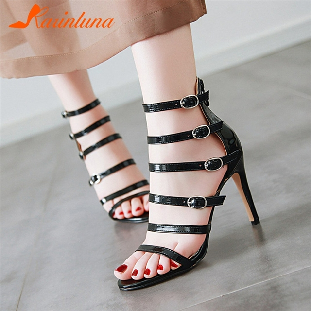 KARINLUNA Brand New Plus Size 34-48 Buckle Strap Ladies High Heels Rome Shoes Woman Casual Party Ol Luxury Summer Sandals