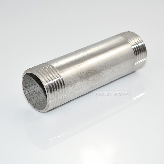"MEGAIRON BSPT 1-1/4"" DN32 Stainless Steel SS304 Male to Male Threaded Pipe Fittings Length 100mm"