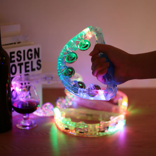 Toys Glowing Plastic Funny Hand bell Luminous toys Christmas Supplies Light-Up Tambourine Kids toys light lichtstaven