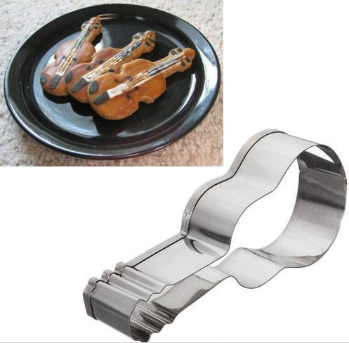3D Music Note&Violin&Electronic Guitar Shape Stainless Steel Cookie Cutter Candy Paste Cake Decorating Biscuit Mould MK1650