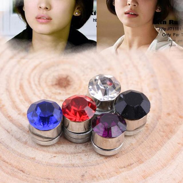 One Pair Newly Fashion Multi-colored Non-piercing Ear Clip Magnetic Magnet Unisex Ear Studs Charming Jewelery