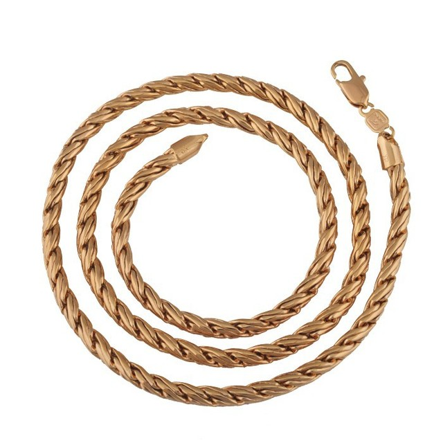MxGxFam (600*5mm)Forbid Allergy 24inch Necklace Men Gold Color 18 k Top Quality