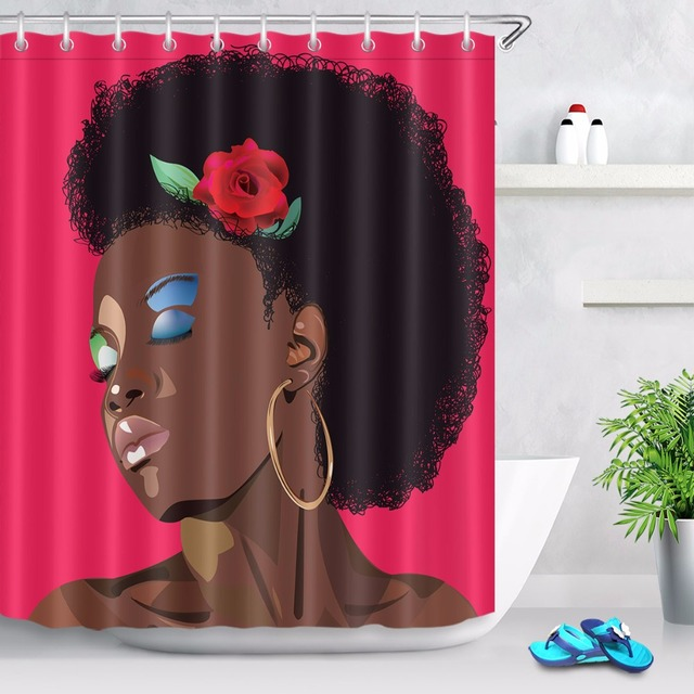 72'' Custom Fashion Beautiful makeup African Women Bathroom Shower Curtain Polyester Bathroom Waterproof Curtain & 12 Hooks
