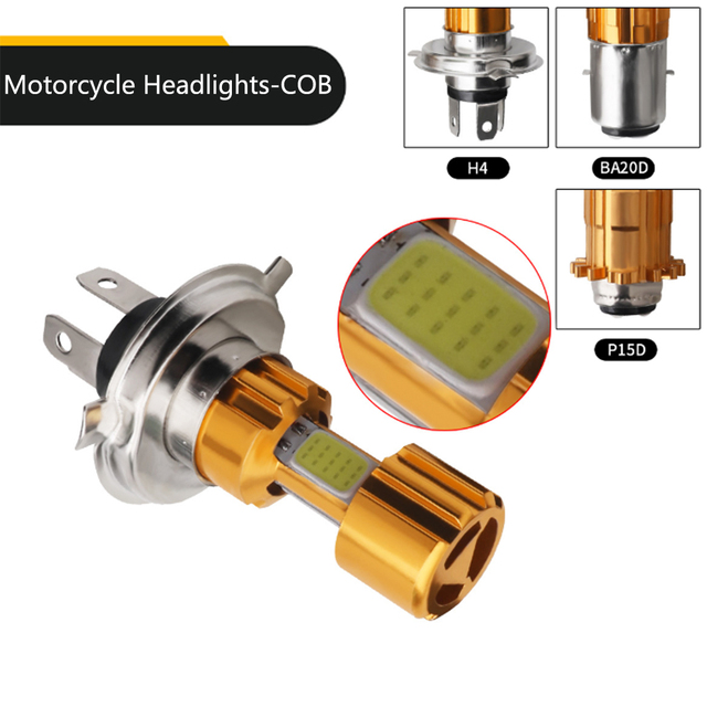 1Pcs COB LED Motorcycle Headlight H4 BA20D P15D High Low Beam Light Super Bright White Motorbike Head Lamp Bulb