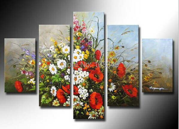 Hand Painted Stretched Framed Oil Wall Gorgeous flowers Home Decoration  Landscape Canvas Oil Painting 5pcs A Set