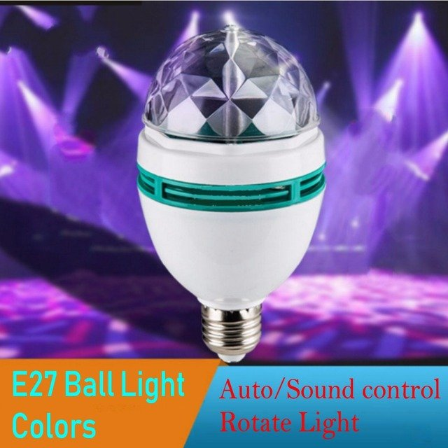 E27 3W led RGB AUTO/Sound control Effect Light 110-240V Led Crystal Magic Ball Led Stage Lamp Disco Party KTV light bulb