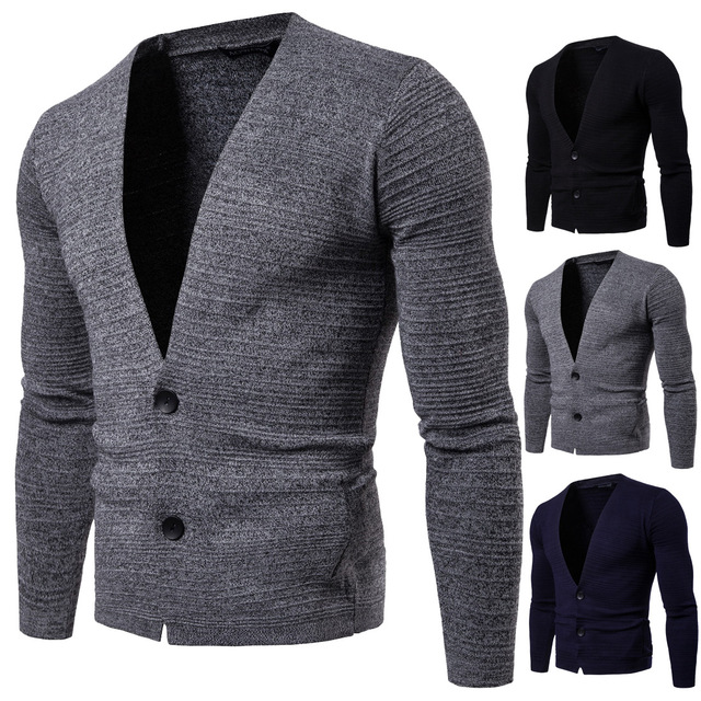 Sweater Men The New Style of Autumn 2018 New Arrival Pure Color Slim Fit Knit Cardigan Sweater Overcoat and Cardigan Clothes