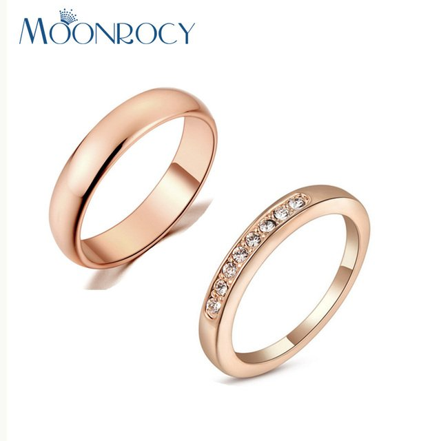 MOONROCY Free Shipping Jewelry Cubic Zirconia Rose Gold Color Crystal Ring Fashion Couple Rings Wedding Promise Ring for Women