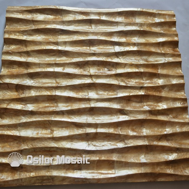 natural golden color handcrafted capiz shell tile decorative board for living room decoration or ceiling decoration