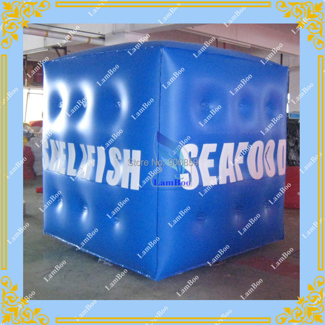 2m Blue Inflatable Cube Advertising Balloon with 6 sides Spray Printing LOGO for  Advertisement/DHL FREE SHIPPING
