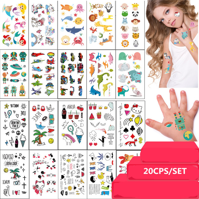 20PCS/SET Kids Cute Temporary Tattoo Sticker Waterproof Unicon Cat Panda Elephant Sea-maid Small Fake Tattoo Body Art