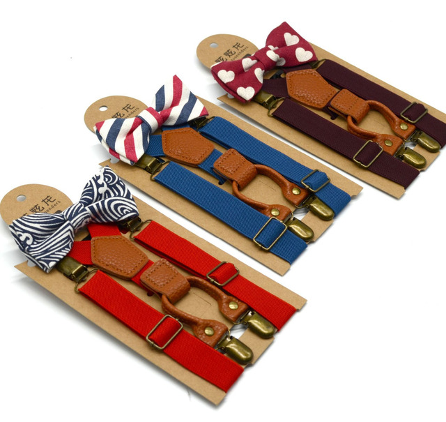 2018 NEW Bowtie Ties High Elastic Butterfly Knot Kids Baby Boys Toddler Christmas Wedding Braces Suspenders Luxury Bow Tie Set