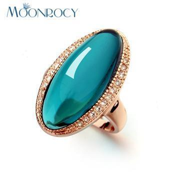 MOONROCY Free Shipping One Piece Fashion Green Crystal Rings For Women Rose Gold Color Jewelry Wholesale Wedding Rings Gift