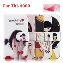 For ThL 4000 Cute Cartoon Wallet Flip Leather With Card Holder Stand Case For ThL 4000 Phone Case