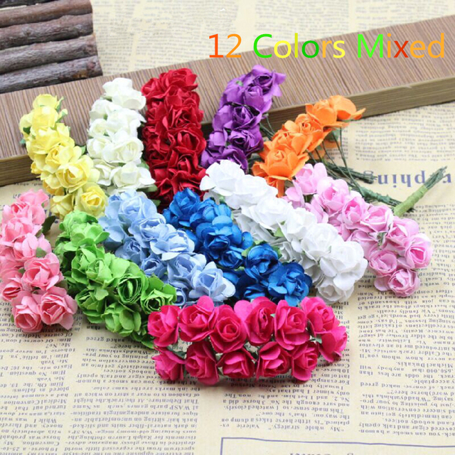 864pcs/lot Free Shipping 12 colors assorted scrapbooking mini flowers1.5cm,Wedding decorating rose bouquets