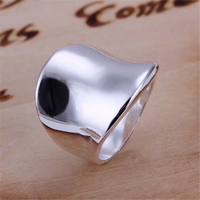 R52 Christmas gift free shipping wholesale Fashion Thumb smooth silver color ring high quality fashion classic Jewelry