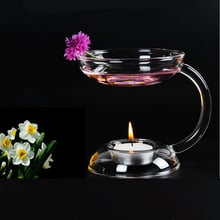 Aramis Transparent Glass Double-deck Candle Holder Candlestick With Handle