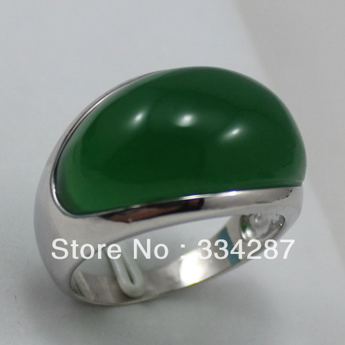 Noblest! Silver color Jewelry Ring Dark Green Jades Men Ring