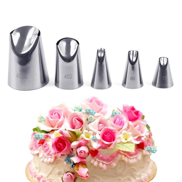 Waasoscon Cake Petal Decorating Set 5pcs Icing Piping Nozzles Stainless Steel Cake Decorating Tips Set Bake Pastry Cake Tools