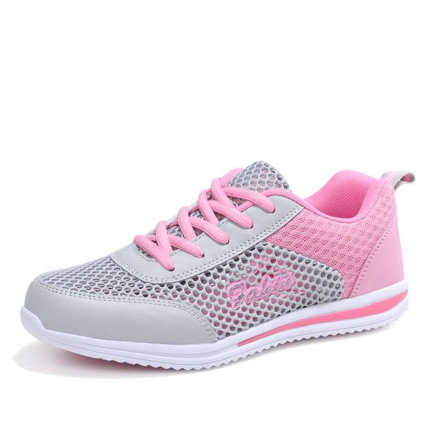 2018 Summer New Women Girls Running shoes Outdoor Breathable Mesh Athletic Jogging Sneakers Ultra Light White Pink Sports Shoes