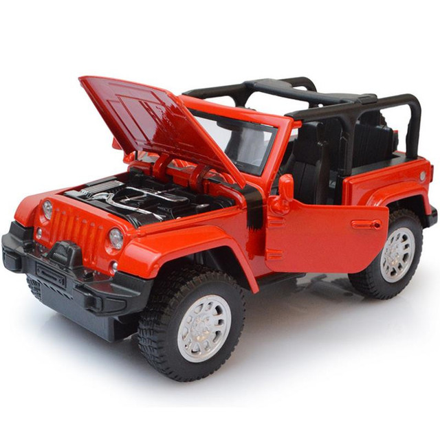 1:32 diecast metal toy vehicles Wrangler SUV alloy pull back car model sound&light convertible&Hard top free shipping